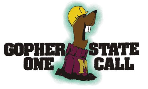 Gopher State One Call Logo. Gopher wearing a construction helmet.