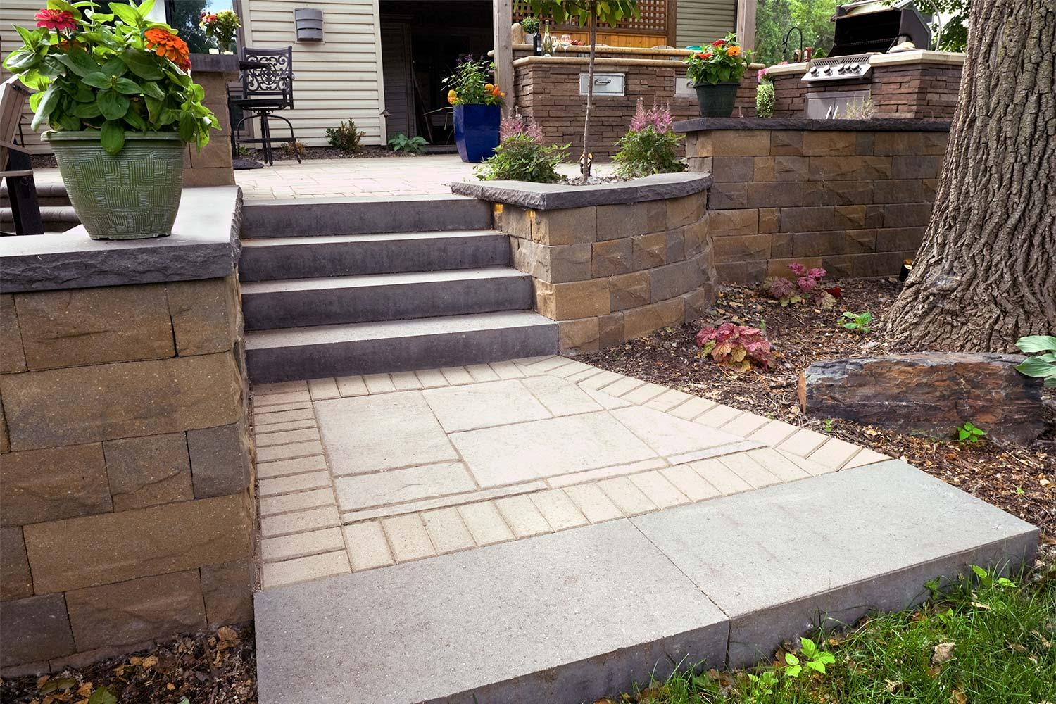 Modular brick outdoor steps.