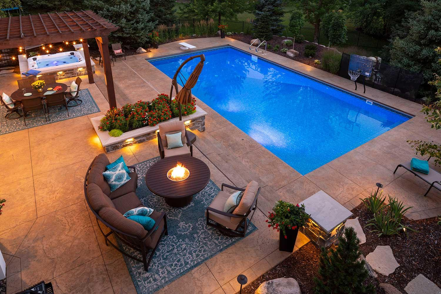 Backyard fire pit and pool