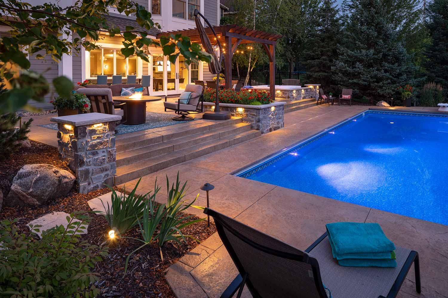 Outdoor lighting fire table garden and pool