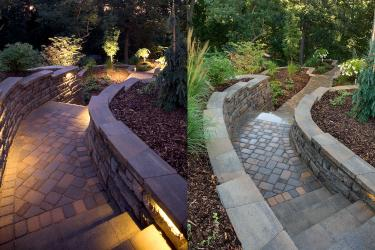 Brick paver walkway with built-in sconces.