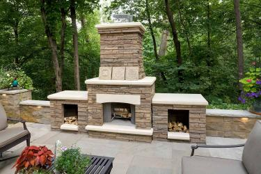 wood-burning backyard fireplace landscaping in Orono Minnesota