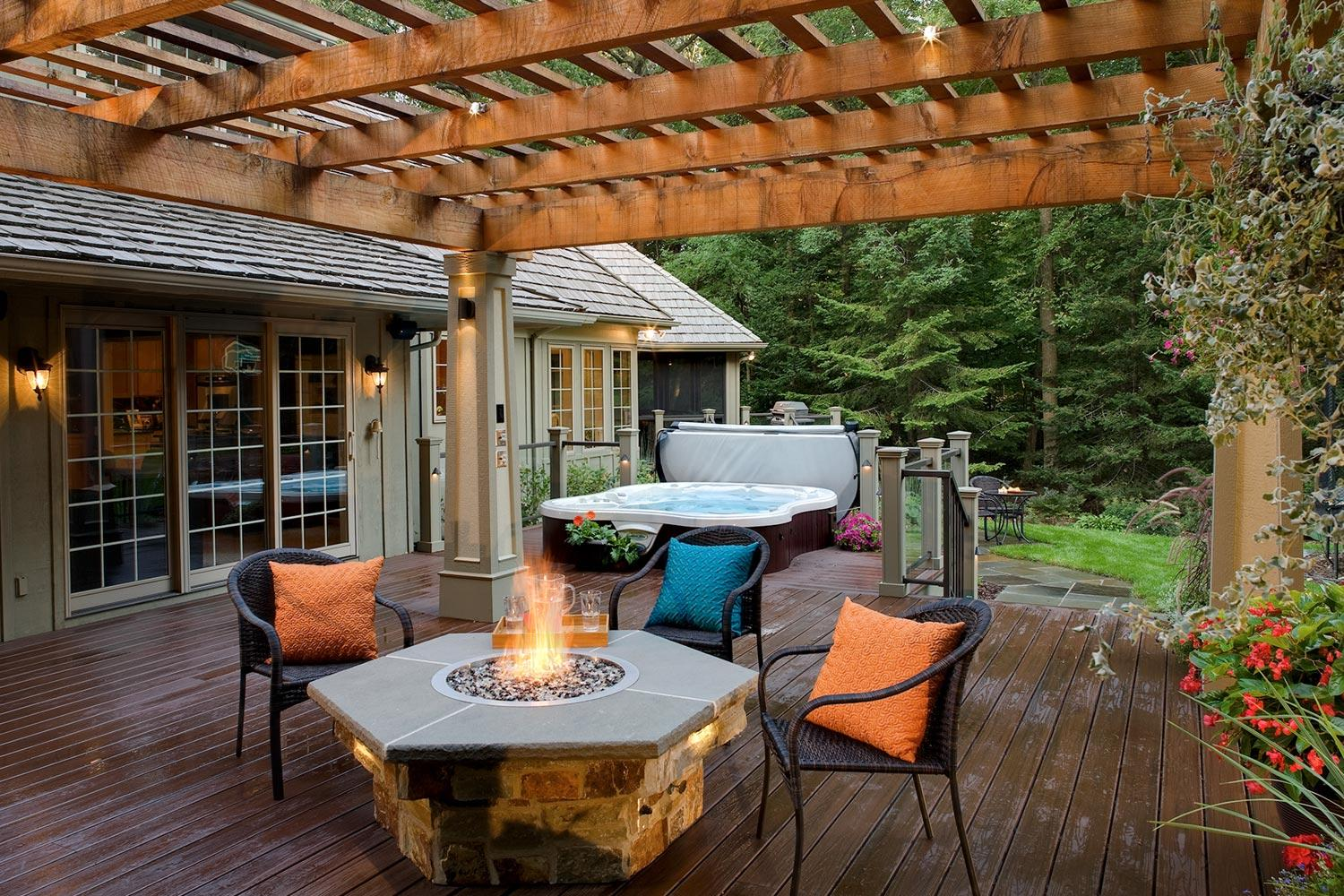 Deck with Firetable and Hot Tub in an Award-Winning Landscape