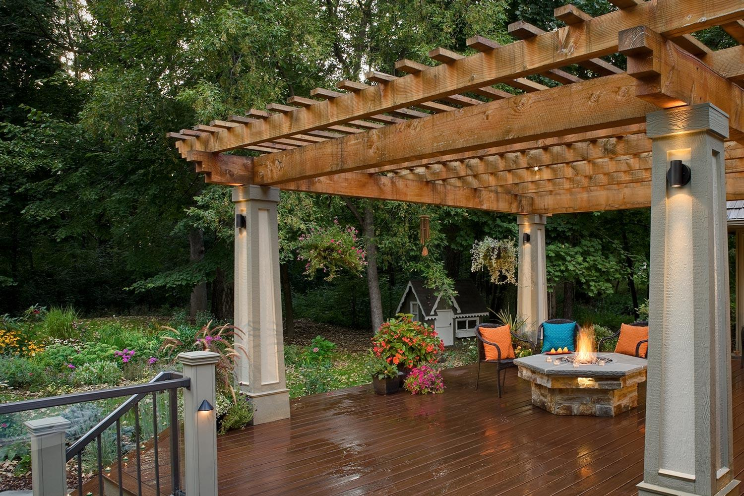 Deck with Pergola and Firetable in Award-Winning Landscape