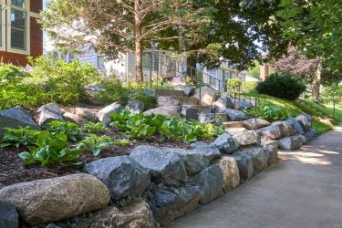 Terraced boulder retaining wall garden planted with hostas and other low-maintenance northwoods perennials.