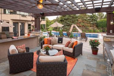 oversized bluestone pavers outdoor living room patio and paver pool deck