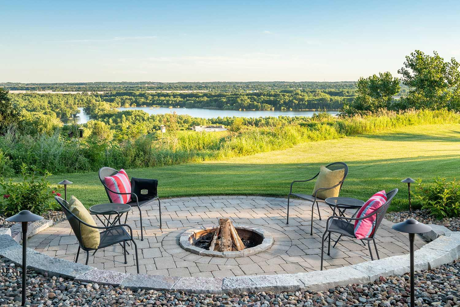 Fire pit paver patio overlooking the minnesota river patio