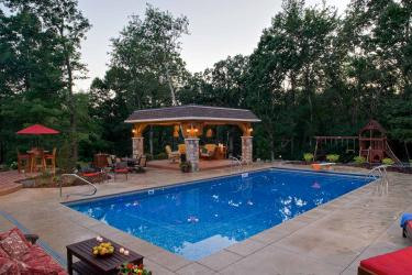 Playful suburban backyard swimming pool