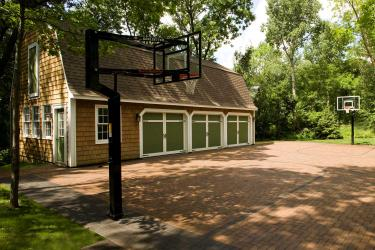 Finished product a one-of-a-kind paver basketball court and driveway