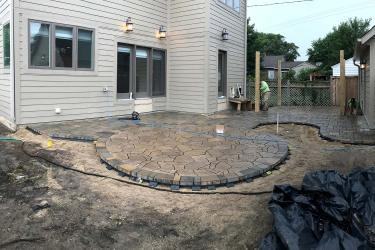 In progress patio installation photo.