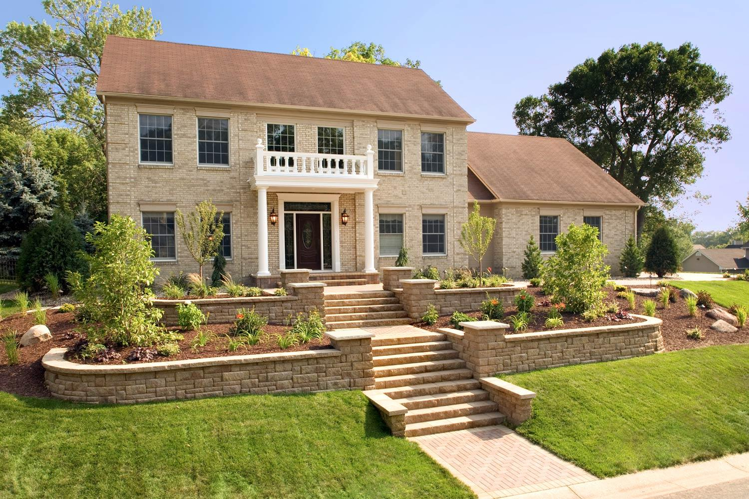 front yard landscaping and retaining walls with curb appeal