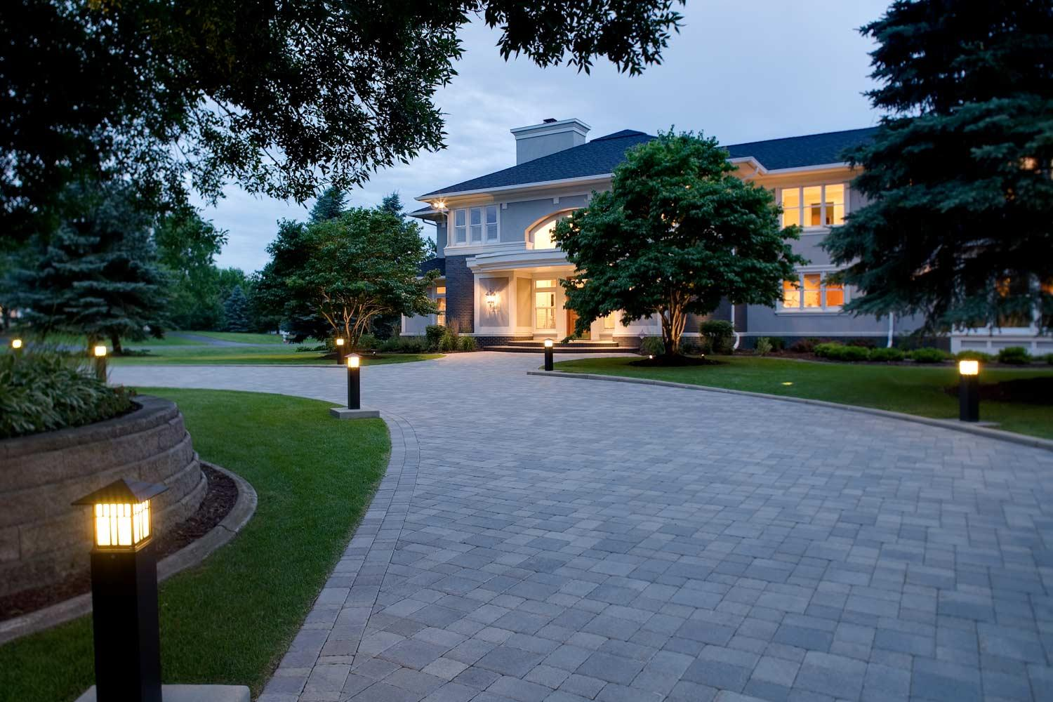 long elegant paver driveway in North Oaks