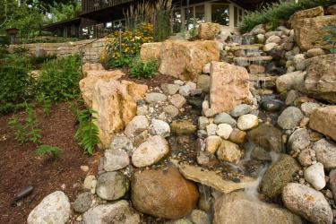 artificial boulder waterfall landscape design