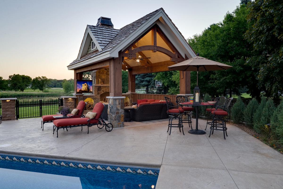 outdoor pool house living room in wayzata