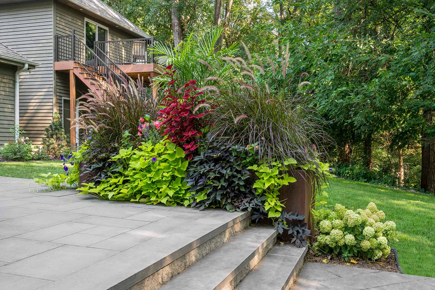 overflowing steel planting box with coleus, fountain grass, potato vines