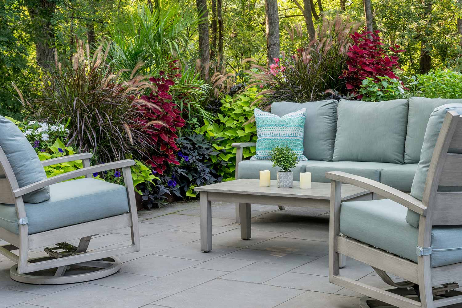 Seating patio with teeming garden