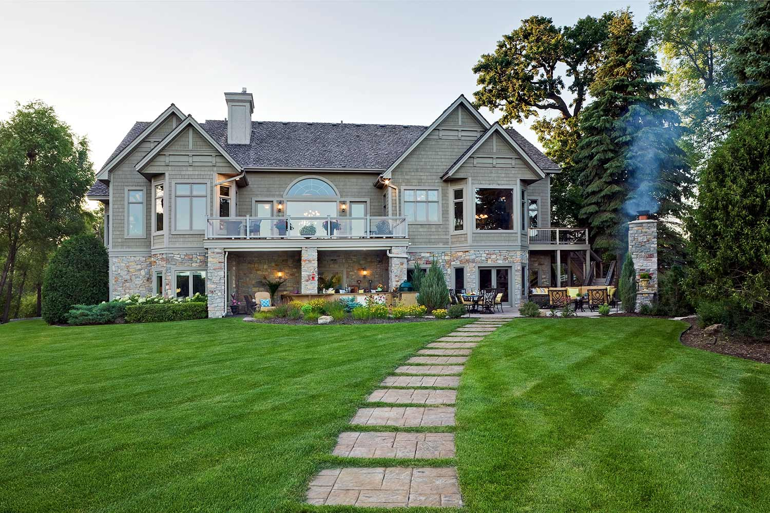 luxury patio design on lake minnetonka