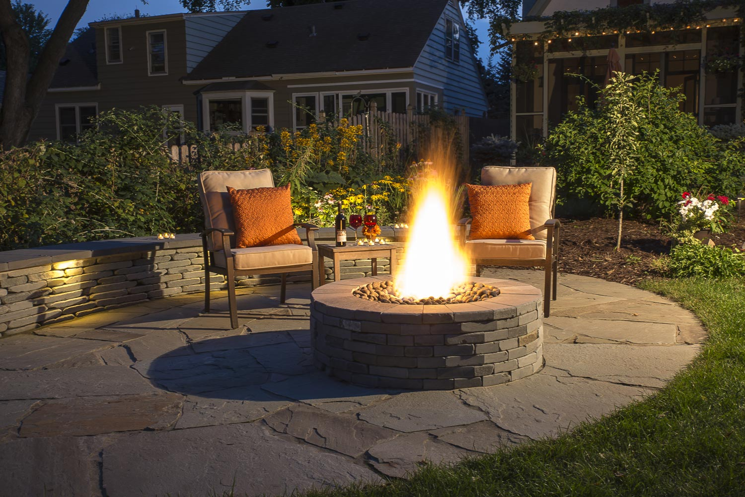 Outdoor fire pit in Edina MN luxury landscape