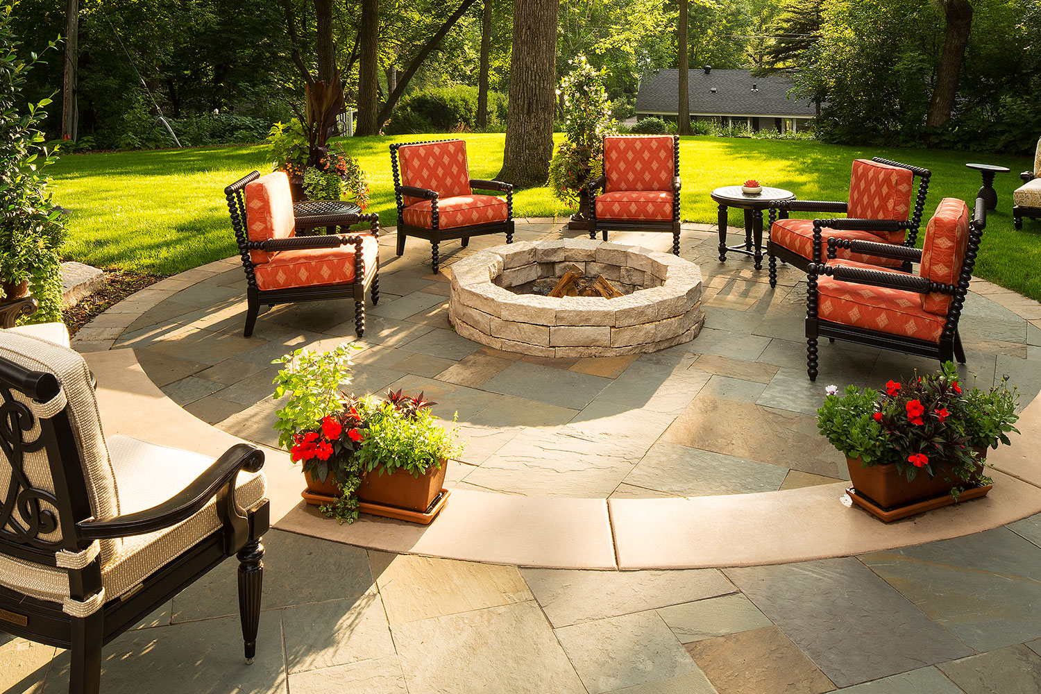 Natural Stone Fire Pit on a Bluestone Patio