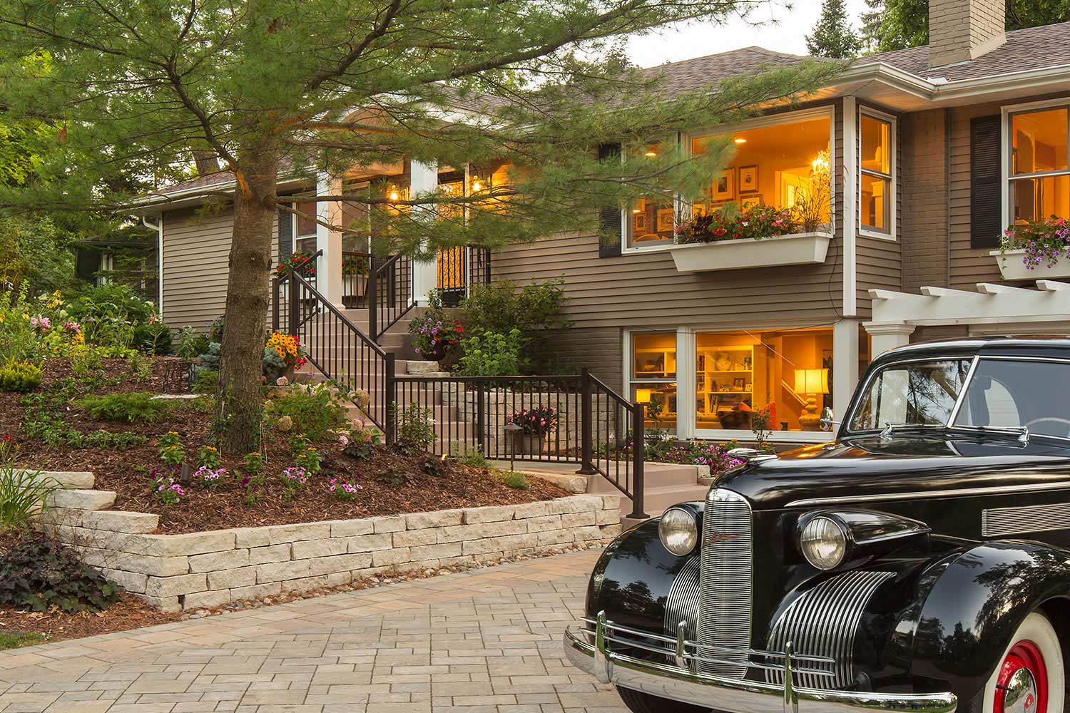 classic car on paver driveway in Minnetonka