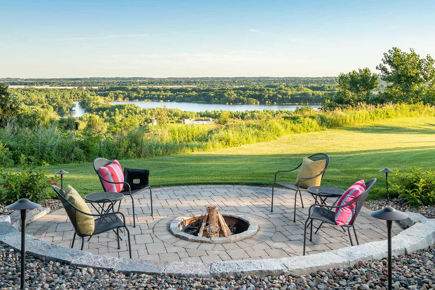 wood-burning fire pit overlooking the minnesota river in eden prairie, mn