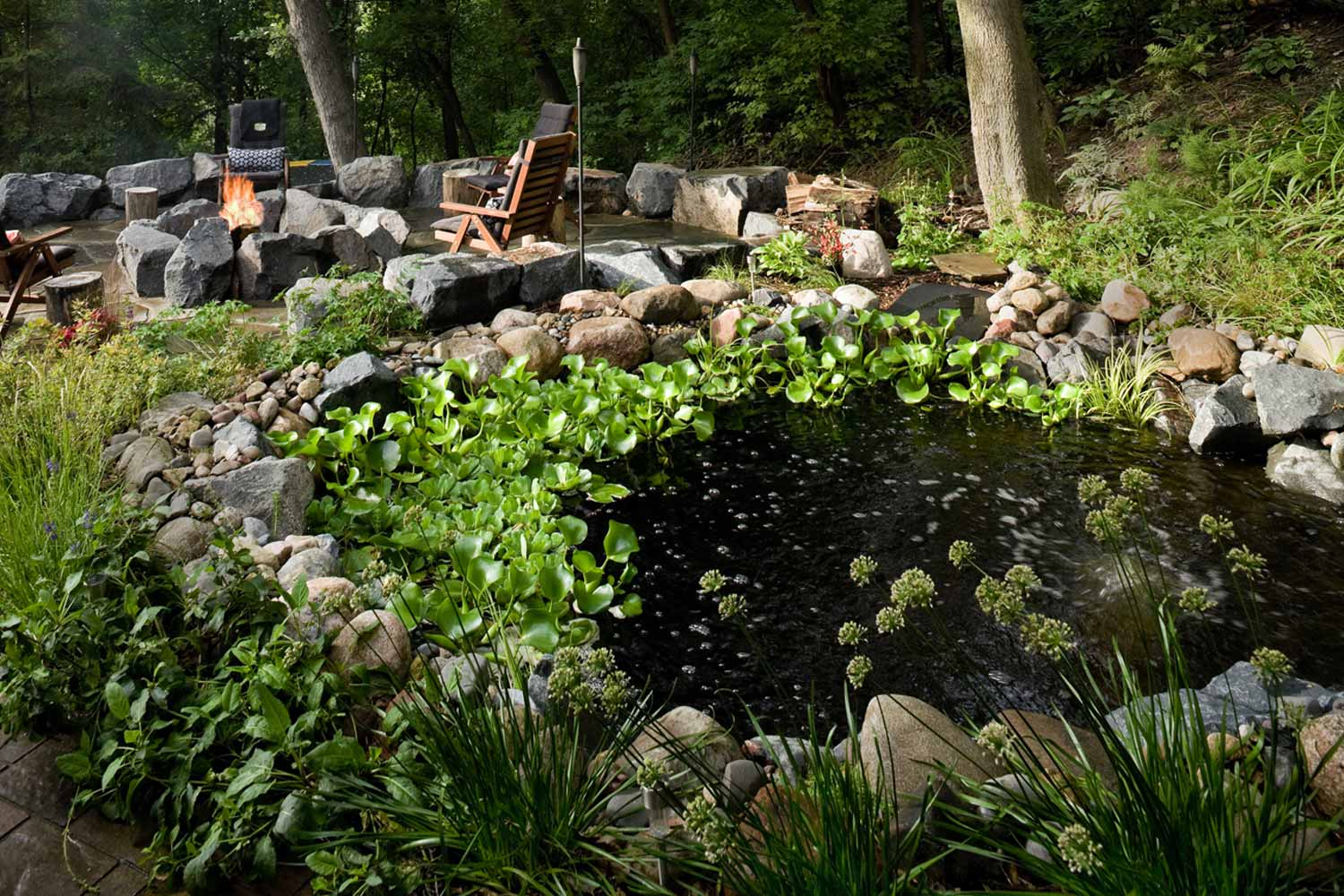 backyard water feature pond with fish in eagan, mn