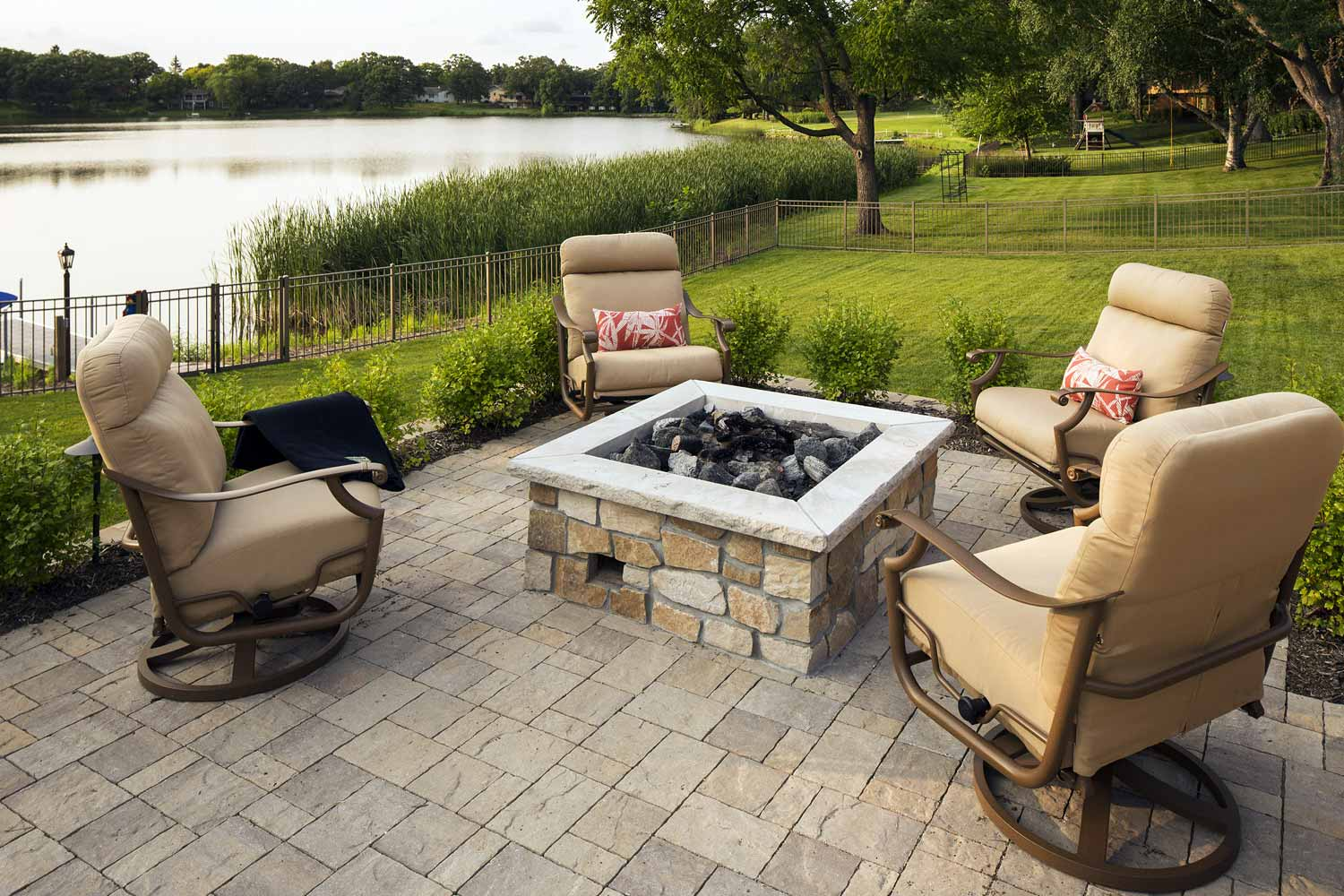 Seating around the built-in firepit