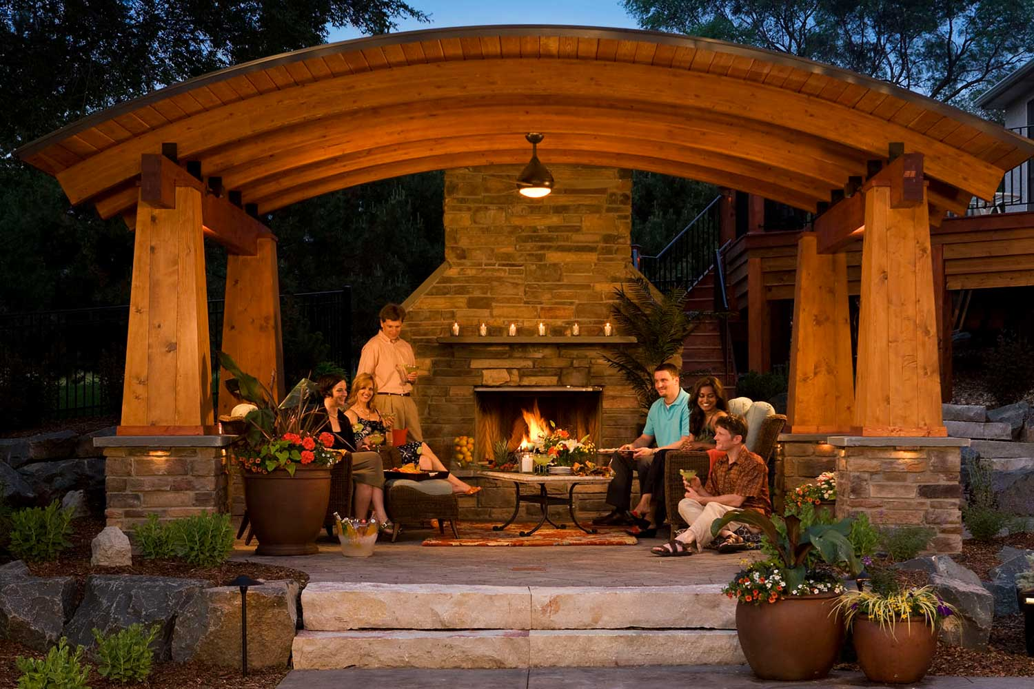 Northwoods style outdoor room and fire place