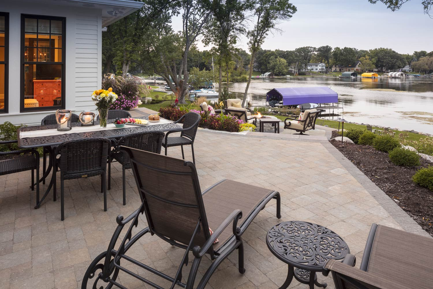 Top tier dining patio overlooking the Lake Minnetonka