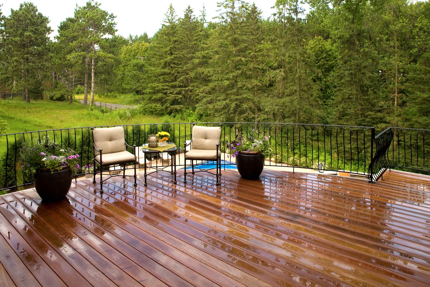 Elevated porch deck overlooks a pine forest and backyard swimming pool