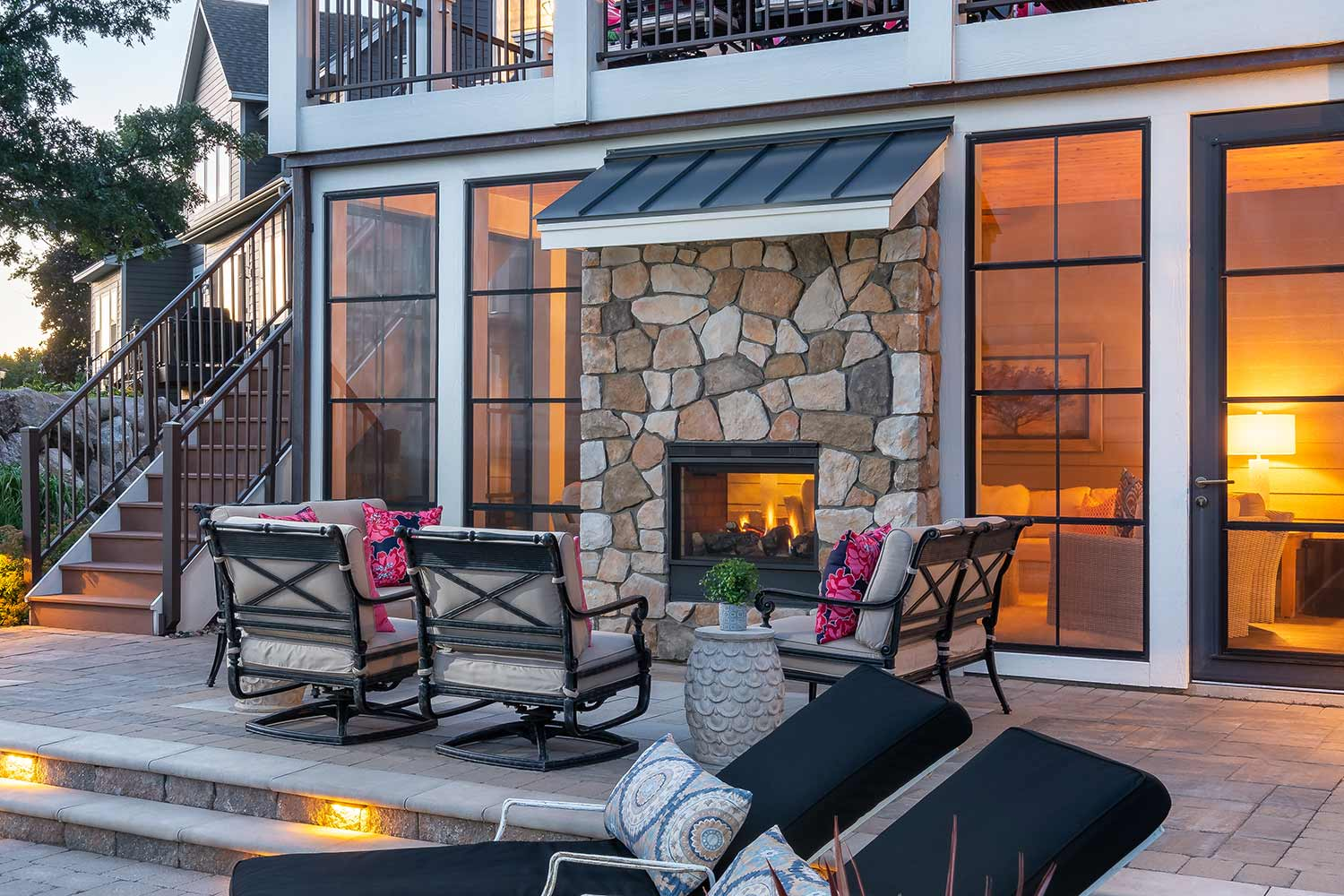 Gas fireplace connects indoors and outdoors