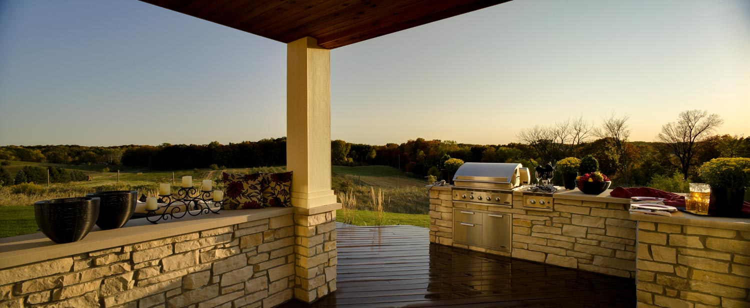 Excelsior backyard deck with outdoor kitchen panorma