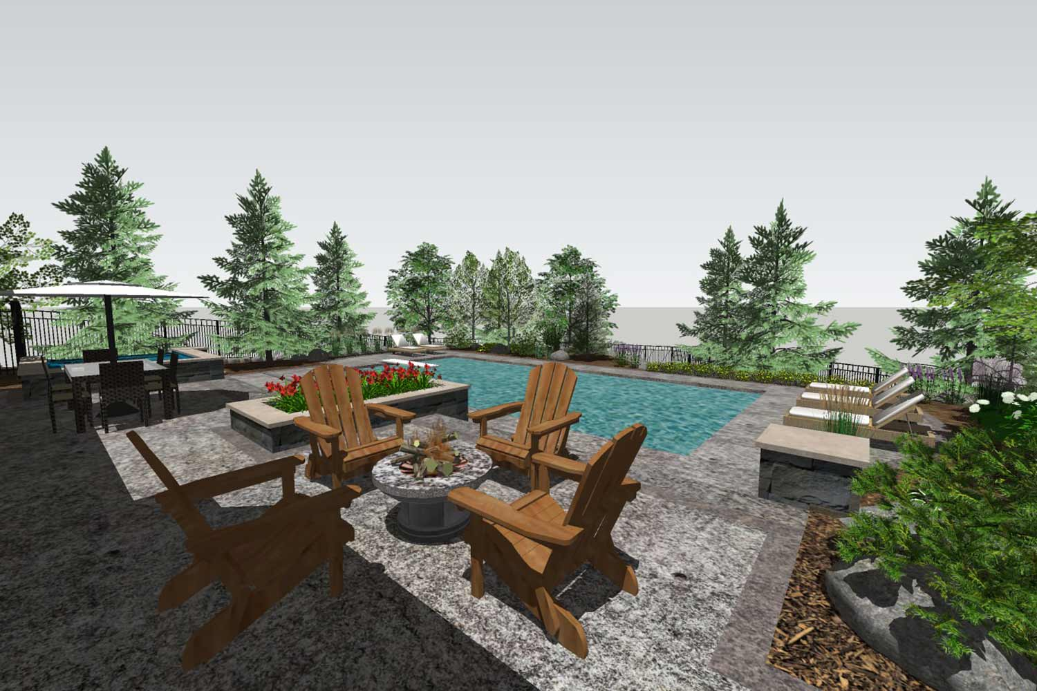 3d backyard rendering